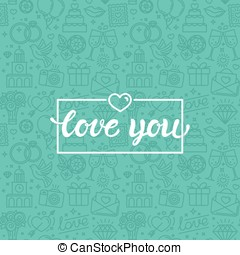 Love you greeting card - Vector seamless pattern and...