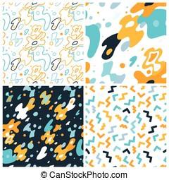 Vector abstract background and seamless patterns with bright elements