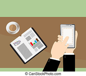 smart phone on Businessman hand and white mug of coffee on...