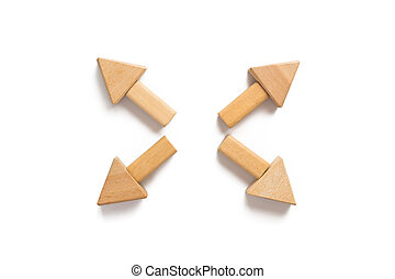Wood block on white background - Arrow point to outside...