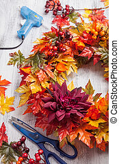handmade diy artifical autumn wreath decoration with leaves...