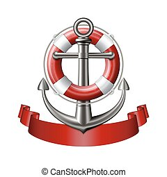 Anchor emblem, vector - Nautical emblem with an anchor,...