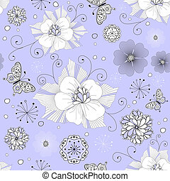 White and black seamless floral pattern with curls and...