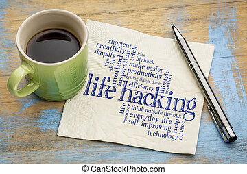 life hacking word cloud - handwriting on a napkin with cup...