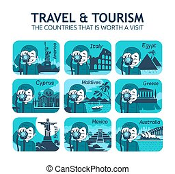 Set of flat travel icons with different countries - Set of...
