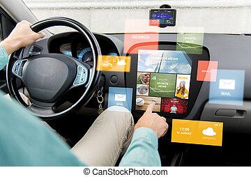 dirigindo,  car, computador, tábua, notícia, homem