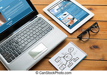 close up of on laptop, tablet pc and notebook - business,...
