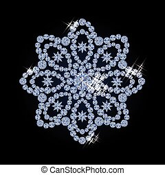 Diamond snow flower vector illustration