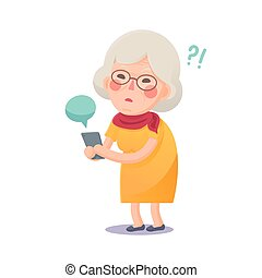 Confused Grandma Using Smart Phone