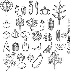 Vegetables icons. Vector Illustration.