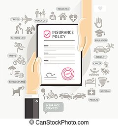 Insurance policy services. Hands give insurance document...