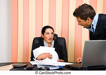 Angry boss with employer - Angry boss screaming to his...