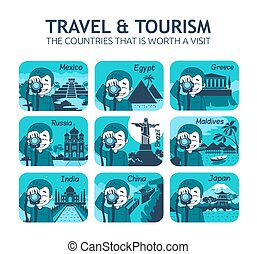 Set of flat travel icons with different countries. - Set of...