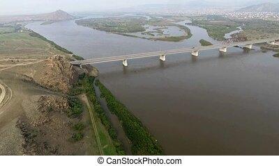 A birds-eye bridge over the Selenga River, Ulan-Ude,...