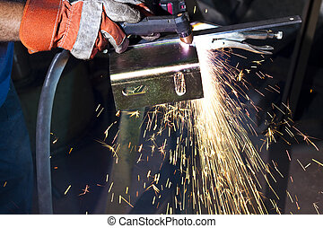 plasma cutting - sparkes made while plasma cutting steel...