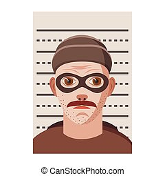 Man arrested photo in police icon, cartoon style - icon in...