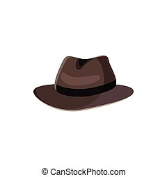 Black hat icon in cartoon style