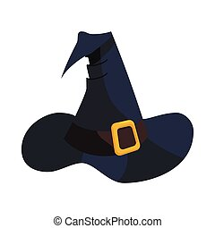 Witch hat icon in cartoon style