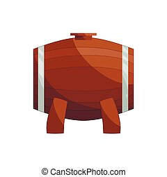 Wooden barrel on a legs icon, cartoon style - Wooden barrel...