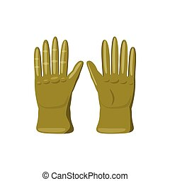 Khaki colored gloves icon, cartoon style - Khaki colored...