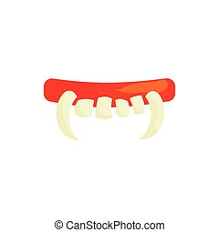 Vampire teeth icon in cartoon style