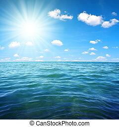 Blue sea and sunny sky.