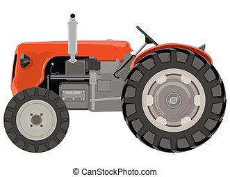 Red tractor a side view on white background