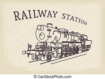 Vector Retro Steam Locomotive - Steam locomotive...