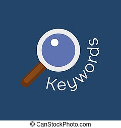 Keywords searching concept with magnifying glass Vector...