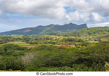 View on Chamarel with rum factory from Plaine Champagne...