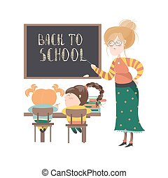 Teacher by blackboard with pupils in the classroom Vector...
