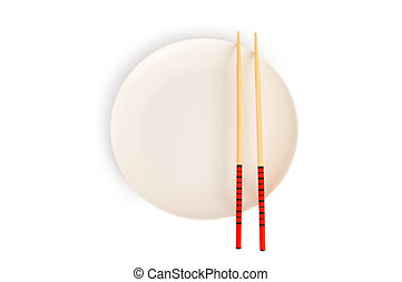 Asian food concept with plate and chopsticks