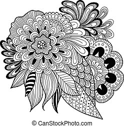 Zen-tangle floral pattern. Indian style.