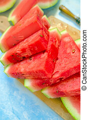 Sweet watermelon fruit slices - Sweet and tasty watermelon...