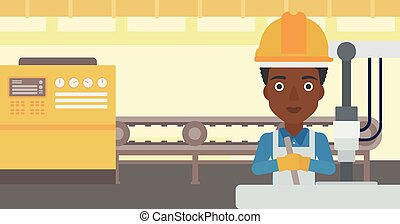 Woman working on industrial drilling machine - An...