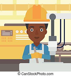 Woman working on industrial drilling machine. - An...