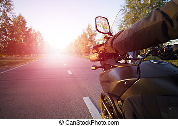 Motorcycle journey. - Traveling on a motorcycle on the...