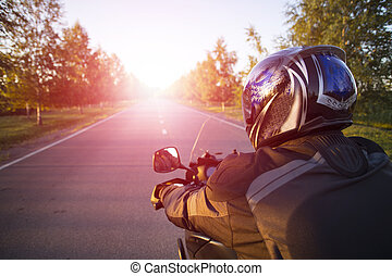 Motorcycle journey - Traveling on a motorcycle on the...