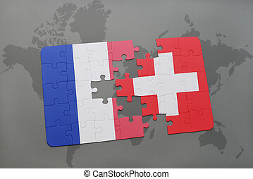 puzzle with the national flag of france and switzerland on a world map background.