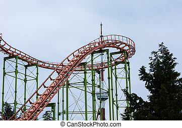 roller coaster - Double Loop on a Roller Coaster with train...