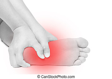 Acute pain in foot. hand massage foot isolated white...