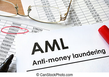 Anti-money laundering AML - Paper with words Anti-money...