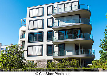 Apartment house with round balcony - Apartment house with...