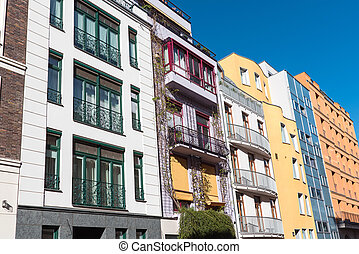 Colorful townhouses seen in Berlin - Row of colorful...