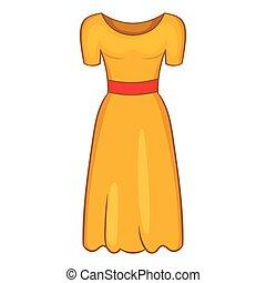 Womens fancy dress icon, cartoon style - Womens fancy dress...
