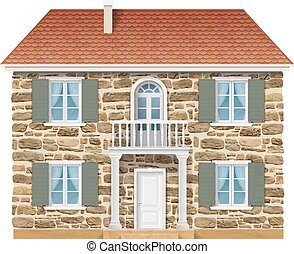 Old country house with a stone wall