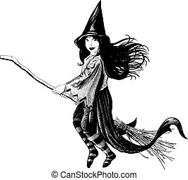 Little girl witch - Little witch flying on her broom develop...
