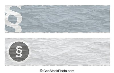 Two colored banners of crumpled paper and paragraph