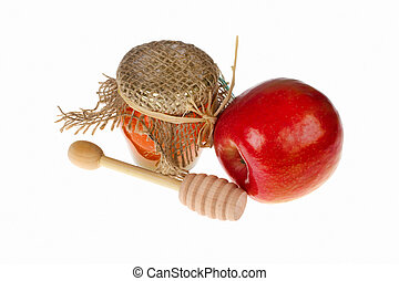 Honey and apple on white background