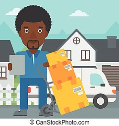 Delivery man with cardboard boxes. - An african-american...